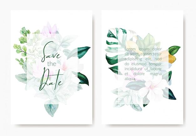 Twee bruiloft sjablonen kaarten, roze magnolia bloemen
