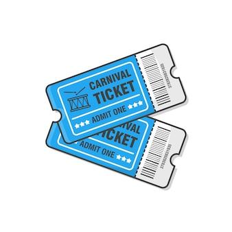 Twee carnival tickets vector icon geïsoleerd op wit