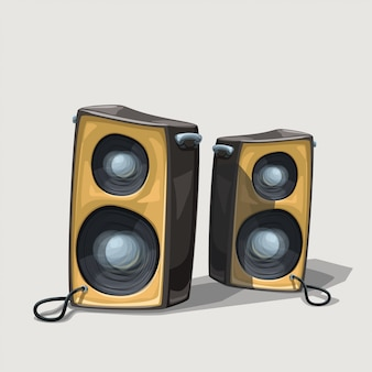 Twee cartoon luidsprekers op witte achtergrond
