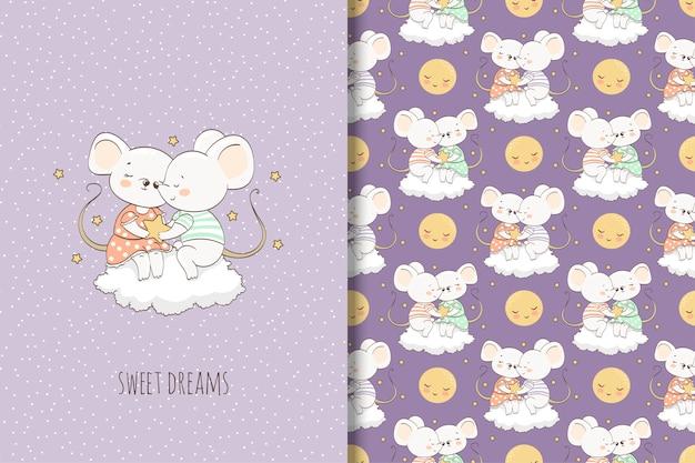 Twee cartoon muis op de wolk illustratie. kaart en naadloos patroon