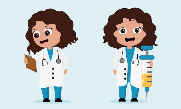 Twee cartoon verpleegsters met spuit