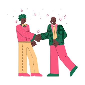 Twee cartoon zwarte mannen handdruk in overleg delen