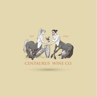 Twee centaurus delen wijn logo illustratie, handgetekende of gegraveerde oud uitziende fantastische, sprookjesachtige beesten half man met paardenlichaam, griekse mythologie