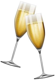 Twee champagneglazen op wit