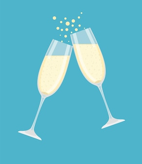 Twee champagneglazen.