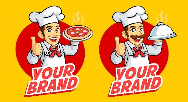 Twee chef-kok mannen mascotte logo goed voor levensmiddelenbedrijven en culinair. Premium Vector