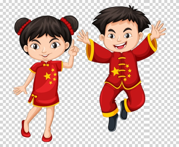 Twee chinese kinderen in rood kostuum