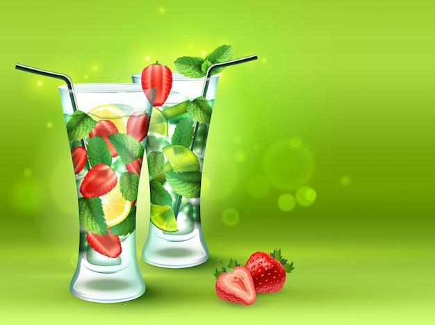 Twee cocktails realistische compositie