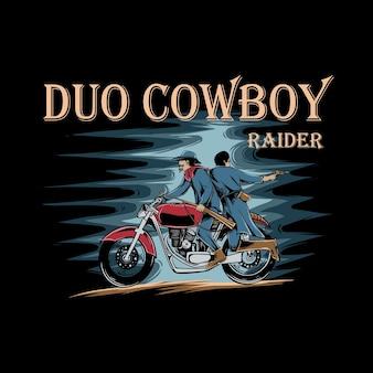 Twee cowboys rijden rode motorfietsen met geweren en zwaarden op zwarte achtergrond