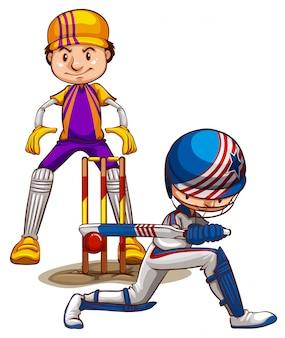 Twee cricketspelers die op witte achtergrond spelen