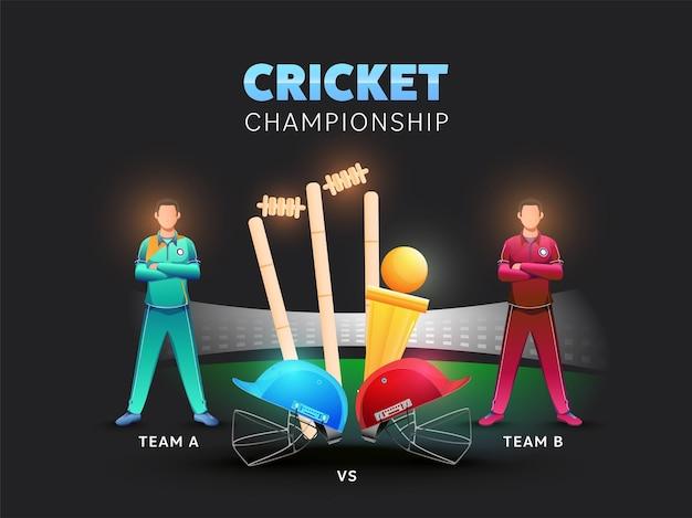 Twee cricketspelers van nemen deel aan team a vs b met helmen