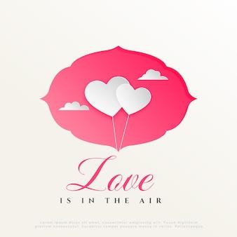 Twee de hartenballon van de document stijl met wolken, de dagachtergrond van de gelukkige valentijnskaart