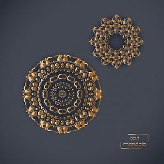 Twee decoratieve gouden bloem oosterse mandala's op blauwe kleur backg