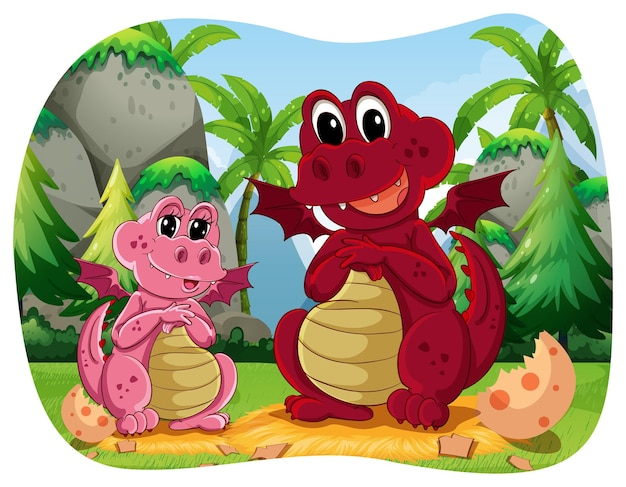 Twee dinosaurussen zitten in het bos