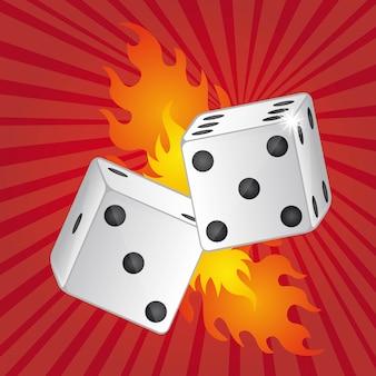 Twee dobbelstenen met vuur over rode achtergrond vectorillustratie