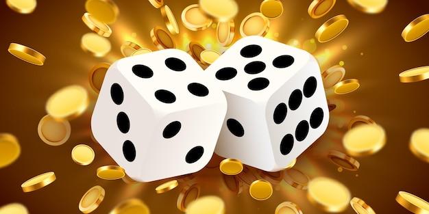 Twee dobbelstenen, omgeven door een lichtgevend frame en muntexplosie. geluk banner. casino