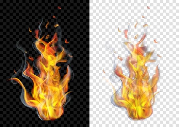Twee doorschijnende brandende kampvuren met rook op transparante achtergrond. voor gebruik op lichte en donkere achtergronden. transparantie alleen in vectorformaat