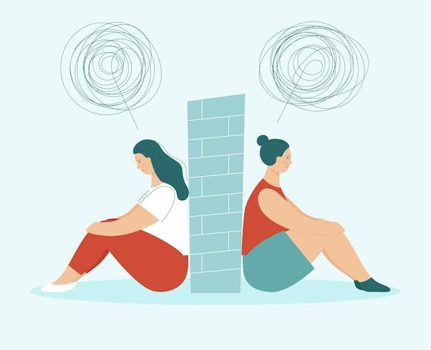 Twee droevige vrouwen in ruzie die rug aan rug zitten. tussen hen muur. concept van problemen in partnerschap, vriendschap en liefdesrelaties. lgbt-paar. platte vectorillustratie geïsoleerd.