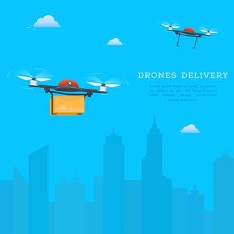 Twee drones vliegen op stadsgezicht achtergrond