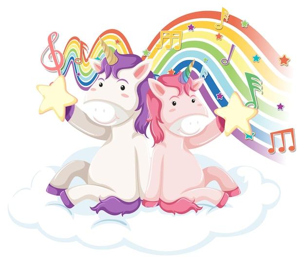 Twee eenhoorns met melodiesymbolen op regenboog