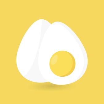 Twee eieren twee gekookte eieren een half ei world egg day flat style