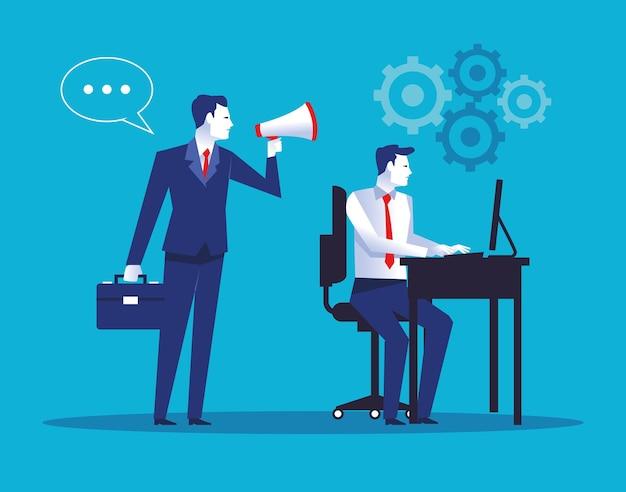 Twee elegante zakenliedenarbeiders die desktop met de illustratie van megafoonkarakters gebruiken