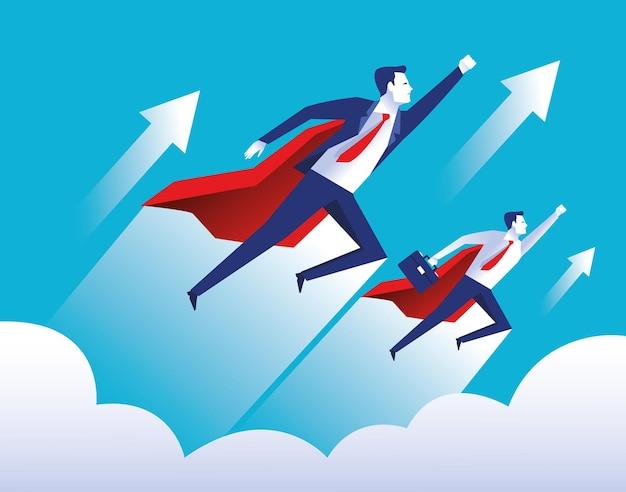 Twee elegante zakenliedenarbeiders die met de karaktersillustratie van heldencapes vliegen