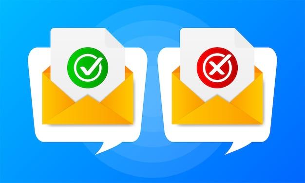Twee envelop met goedgekeurde en afgekeurde brieven op blauwe achtergrond. citeer tekstballon.