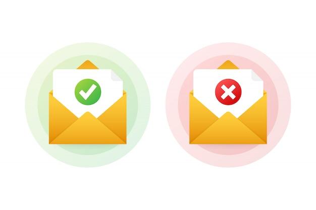 Twee enveloppen met goedgekeurde en afgekeurde brieven. illustratie.