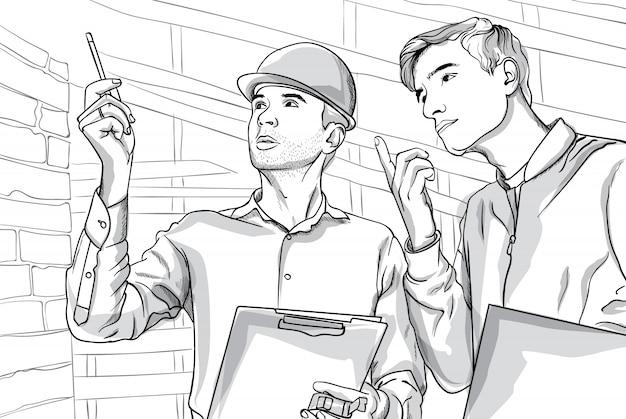 Twee ernstige man op bouwplaats praten. nadenkende mensen. lijn kunst