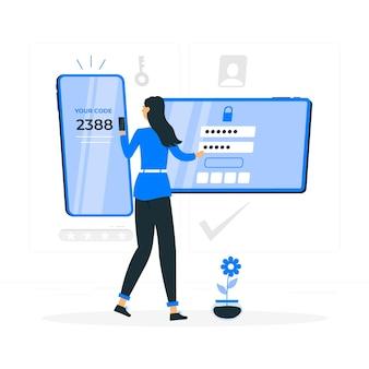 Twee factor authenticatie concept illustratie