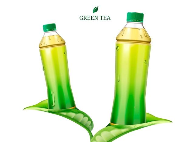 Twee flessen groene thee met blanco etiket op bladeren