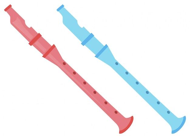 Twee fluiten in roze en blauw
