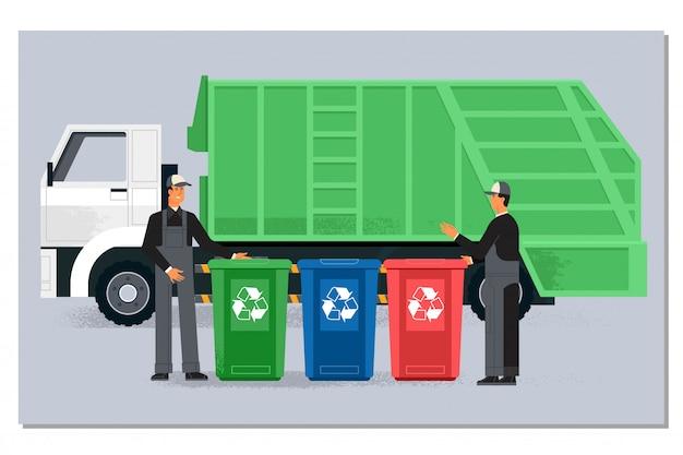 Twee garbagemen werken samen aan het legen van vuilnisbakken voor het verwijderen van afval