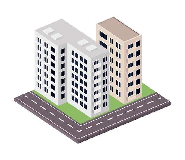 Twee gebouwen en wegscène