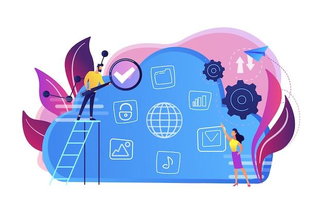 Twee gebruikers zoeken naar big data in de cloudillustratie