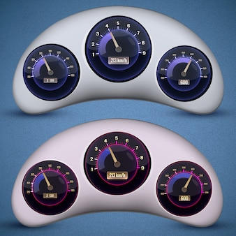 Twee geïsoleerde snelheidsmeter-interface met drie wijzerplaten op de snelheidsmeters van de auto