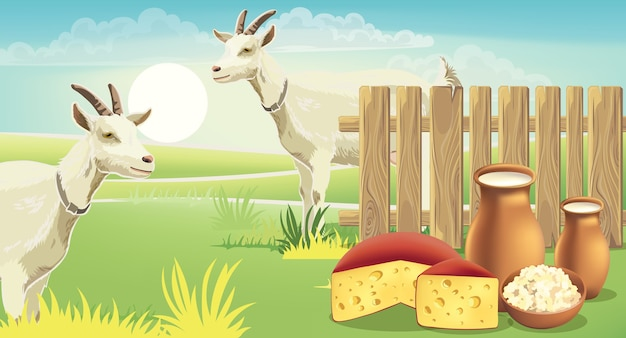 Twee geiten en weiland bij een hek met kaas, kwark en melk op het gras. realistisch.