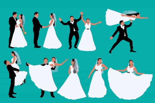 Twee gekleurde bruiloft silhouetten