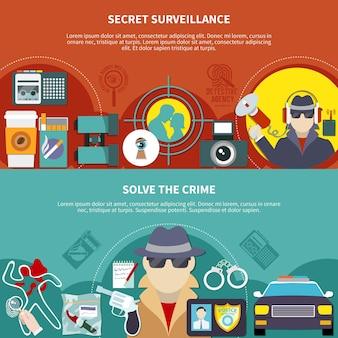 Twee gekleurde detectivebanner die met geheim toezicht wordt geplaatst en de vectorillustratie van misdaadbeschrijvingen oplost