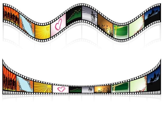 Twee gekleurde filmstroken