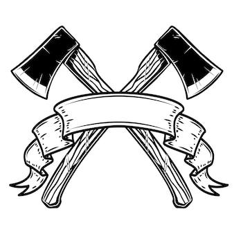 Twee gekruiste bijlen met lint. ontwerpelement voor logo, label, teken, poster, kaart, banner. vector illustratie