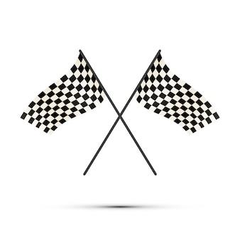 Twee gekruiste finishvlaggen met schaduw