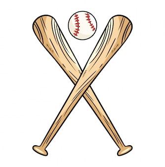 Twee gekruiste honkbalknuppels en bal, pictogram sport logo.
