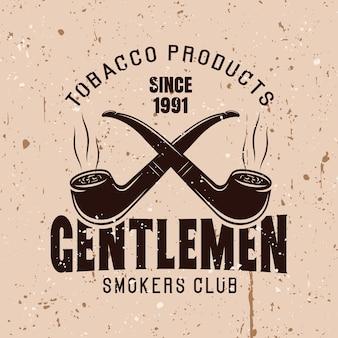 Twee gekruiste rookpijpen vector vintage embleem met tekst heren rokers club