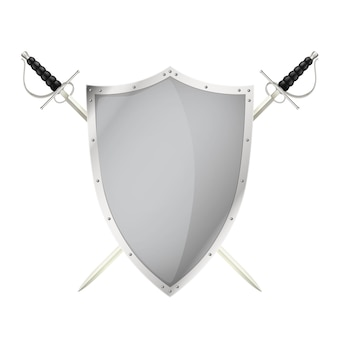 Twee gekruiste zwaarden achter de lege illustratie van het staalschild