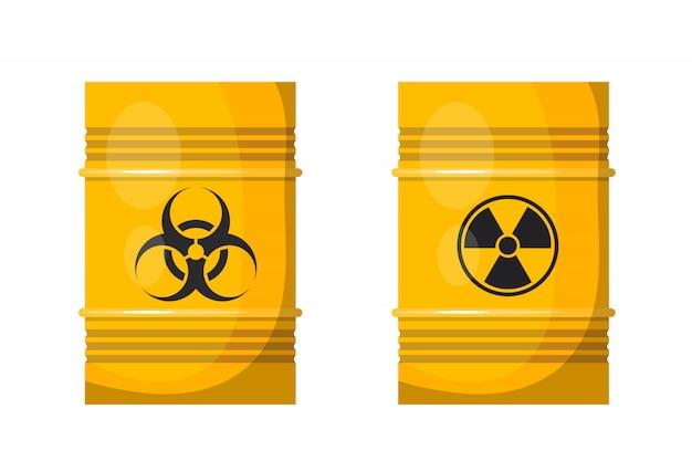Twee gele metalen vaten met zwarte tekenen van straling