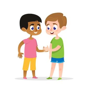 Twee gelukkige firends handshake vectorillustratie.