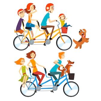 Twee gelukkige gezinnen rijden op tandem fietsen met drie stoelen en mand. ouderschap concept. recreatie met kinderen. mensen stripfiguren.