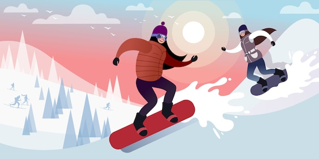 Twee gelukkige jonge meisjes snowboarden op een ijzige dag in de winter besneeuwde bergen. platte vectorillustratie